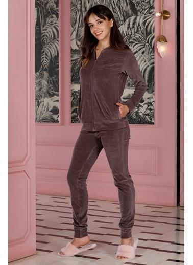 Hays Kadın Kadife 2li Uzun Pijama Takımı Lila